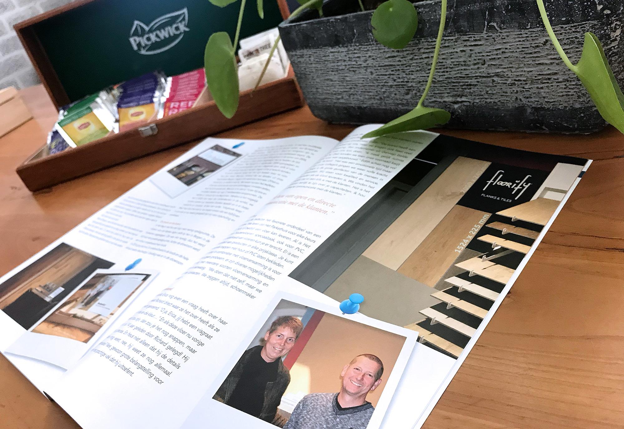 Het Parkethuis in dorpsblad Hèjè Nèjs: 'Wij hebben heel graag een klik met onze klanten…'